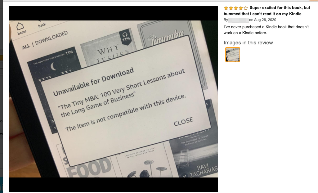 Kindle device showing Unavailable for Download with customer review.