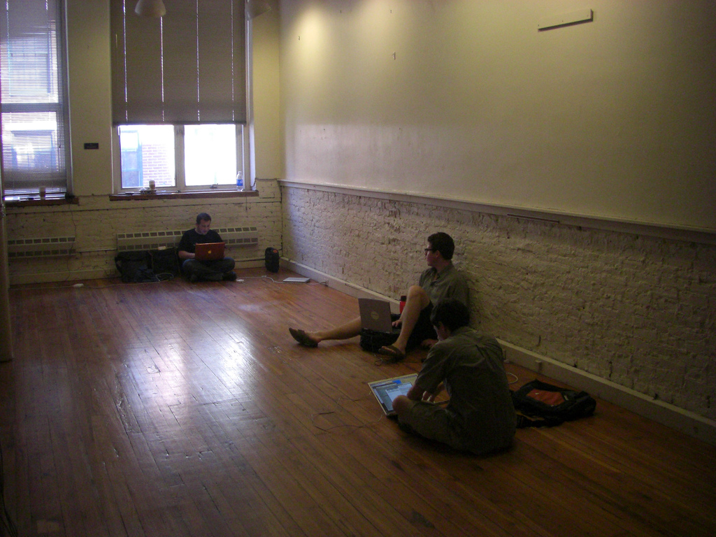 Actual Day 1 at Indy Hall. Turns out that you don't need desks to cowork.